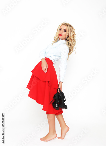 Fashion Model With Luxury Hair And Red Skirt Photo