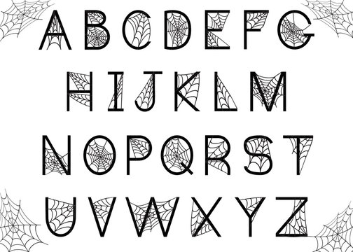 Set of letters with spider web
