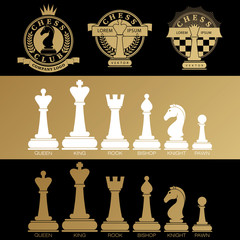 A set of chess pieces and logos