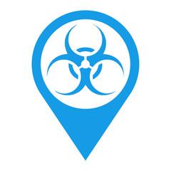Icono plano localizacion biohazard azul