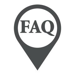 Icono plano localizacion texto FAQ gris