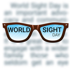 World Sight Day background. Vector illustration with glasses. Fighting blindness, cataract, glaucoma, vision impairment. Eye health concept. Creative flyer, poster template for ophthalmology.