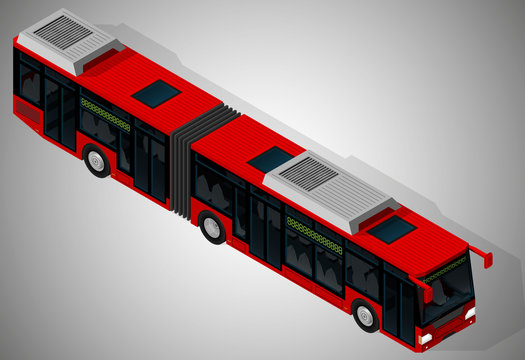 Vector isometric illustration of a low floor articulated city bus. Vehicles designed to carry large numbers of passengers.