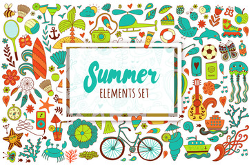 Summer set doodle elements. Travel drawing