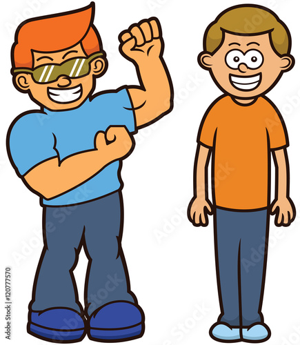 muscular and skinny men body type cartoon characters stock image