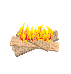 camp Fire isolated. Boards and flames on  white background. Burn