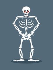 Angry skeleton. Aggressive dead. Evil skull and bones.