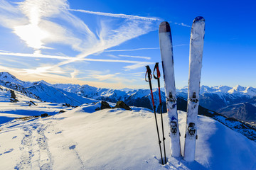 Photo sur Aluminium Bleu fonce Ski in winter season, mountains and ski touring equipments on th