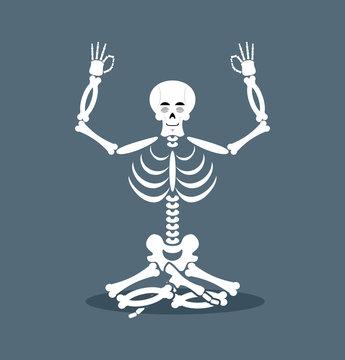 Skeleton meditating. Dead yoga. Status of nirvana and enlightenm