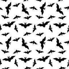 Seamless pattern with repeating bats isolated on the white (transparent) backround. Vector illustration