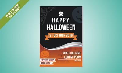 black orange elegant flyer halloween template vector