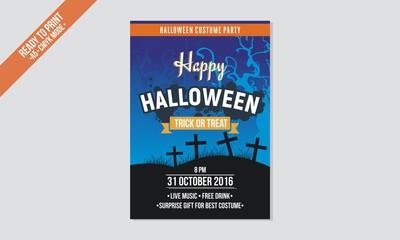blue flyer halloween template vector