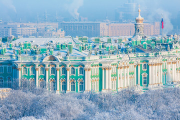 Hermitage, winter. View from St. Isaac's Cathedral, St. Petersburg, Russia