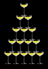 Champagne Glasses Pyramid on black background. Vector Illustration. EPS 10
