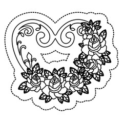 Heart shape with roses and leaves icon. Love passion and romantic theme. Isolated design. Vector illustration