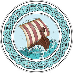 Drakkar sailing on the stormy sea in the frame of the scandinavian wreath