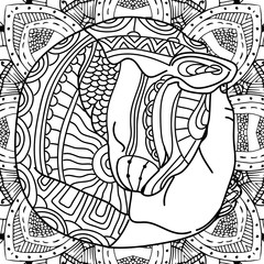 The cat in the arms. Coloring book page animal, with patterns. Antistress illustartion