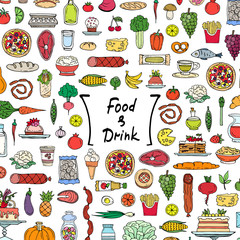 Cute cover with colored hand drawn food and drink