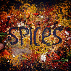 Food background with the word spices, top view