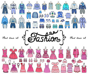 Vector set with hand drawn colored doodles on the theme of fashion for boys and girls