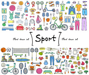 Vector set with hand drawn isolated colored doodles on the  theme of sport, fitness, healthy lifestyle