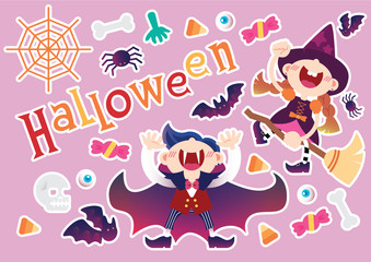 Halloween event party object background vector