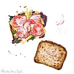 Poster Waterverf Illustraties Watercolor Food Clipart - Sandwich