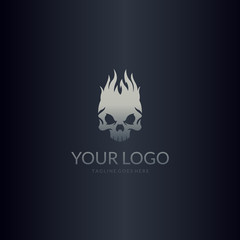 Fire skull logo. Easy to edit, change size, color and text.