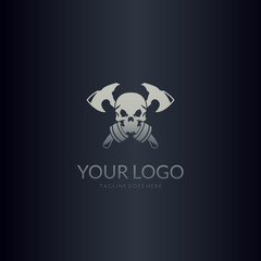 Skull and axe logo. Easy to edit, change size, color and text.