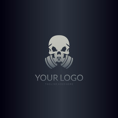 Gas mask logo. Skull with gas mask. Easy to edit, change size, color and text.