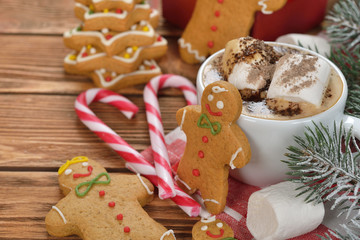 Hot cocoa and Christmas gingerbread men