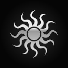 Silver Sun-sign icon on black background. Vector Illustration