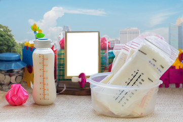 breast milk frozen in storage bags for baby with sunlight, Selective focus