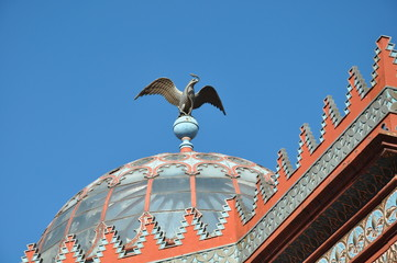 Eagle statue on top of the Kiosco Morisco de Santa Maria la Ribera, Mexico City