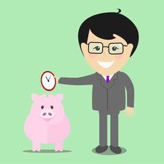 Businessman save time into a piggy bank , vector illustration fl