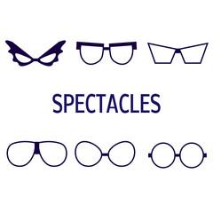 Set of vector blue glasses on white background