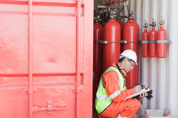 Engineer working on oil rig