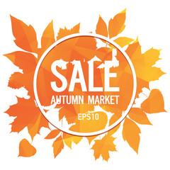 Golden autumn, seasons sale, market, leaves of bouquet, orange triangular background, abstract vector design art