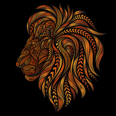 Abstract red vector lion of patterns