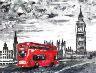 oil painting on canvas, street view of london, bus on road. Artwork. Big ben.