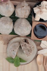 Steamed dumpling stuffed with taro is delicious.