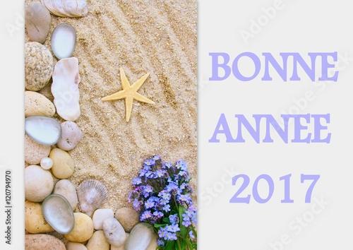 Bonne ann e 2017 carte de voeux sur fond plage et galets photo libre de droits sur la banque d - Carte voeux gratuite 2017 ...