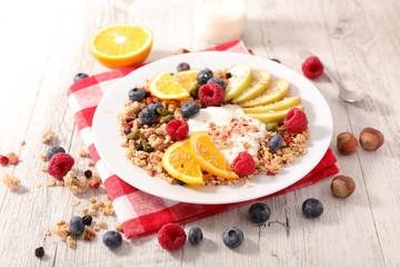 muesli,fruit and yogurt