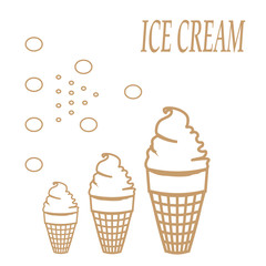 Card with beige circuit of ice-cream sign pattern on white background