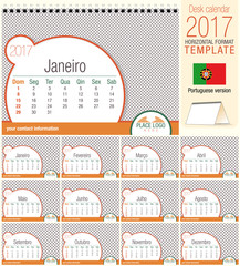 Desk triangle calendar 2017 template. Size: 210mm x 150mm. Format A5.  Vector image. Portuguese version