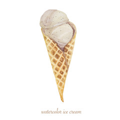 Ice cream waffle cone. Hand drawn Watercolor Illustration.