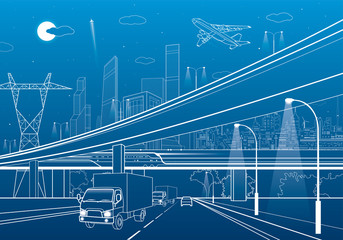 Wall Mural - Car overpass, infrastructure, urban plot, airplane takes off, train move ob the bridge, neon city on background, truck on highway, white lines illustration, vector design art