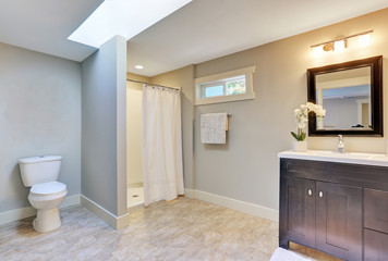 Dark brown vanity cabinet with granite counter top