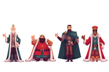 Set of different kings wearing crowns and mantles, cartoon vector illustration isolated in white background. Four kings - tall and short, slim and fat, young and old, black and white skinned