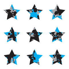 Grunge Black And Blue Stars Collection